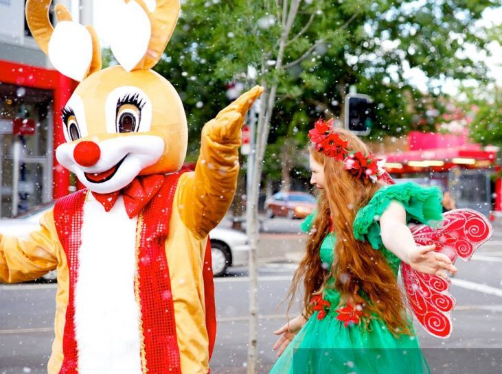 Christmas Street Parade entertainment with Rudolf and our sparkling Christmas fairy