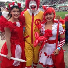 Ronald McDonald with The Fairy Wishes Crew at The St George and Illawarra Dragons Game Sydney